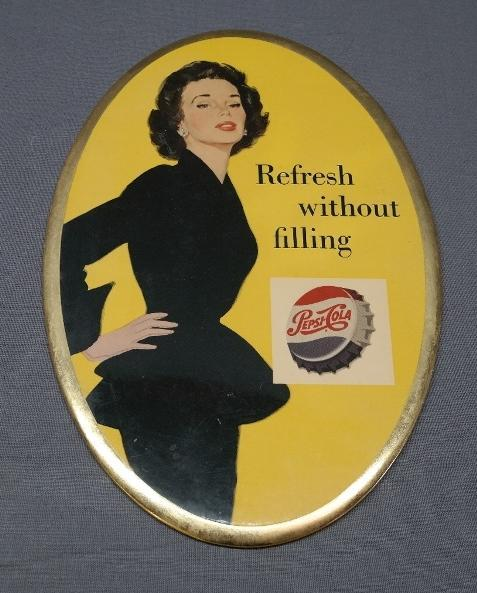 Pepsi- Cola Refresh without Filling Easel Back Advertising Sign- Celluloid