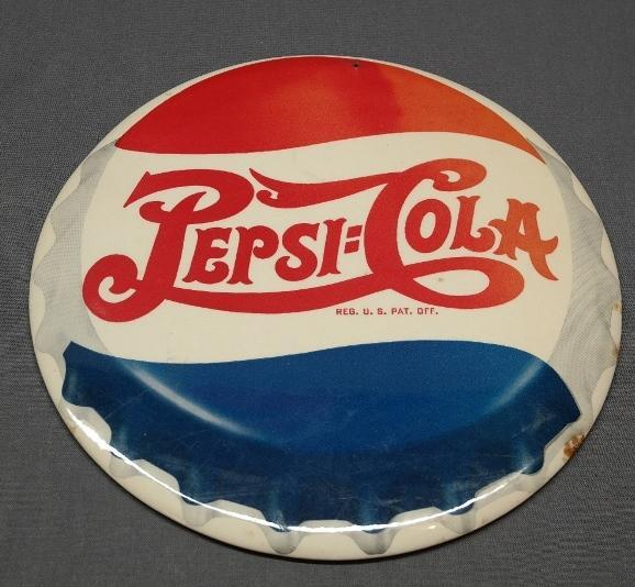 Double Dot Pepsi Cola Bottlecap Easel Back Advertising Sign - Celluloid