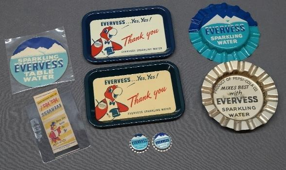 Lot of Miscellaneous Evervess Advertising and Promotional Items- Tip Tray, Ash Trays, Matchbook, Bottlecaps