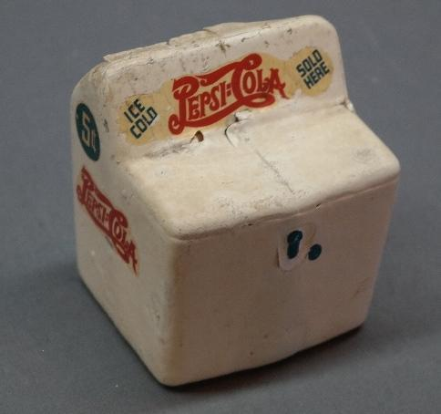 Rare and Unusual 1940 Pepsi-Cola Masonite Bank in the Shape of a Cooler