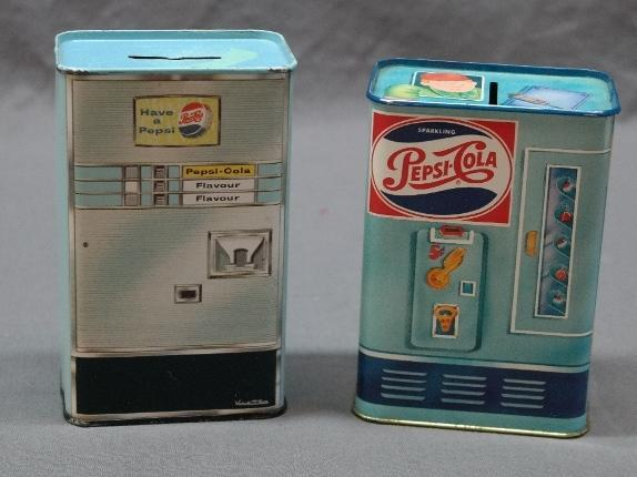 Lot of 2 Metal Pepsi Cola Coin Banks