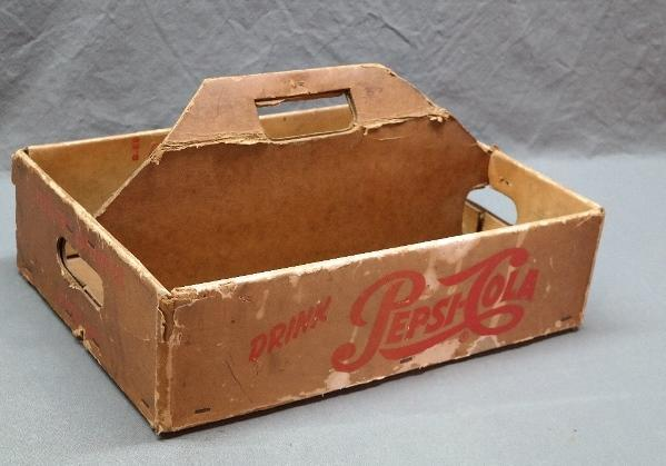 Single Dot Pepsi-Cola Waxed Cardboard Bottle Carrier- Dubuque Iowa