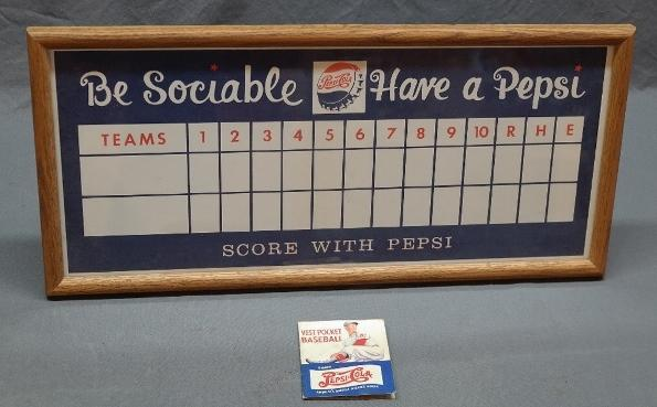 Rare Unused Pepsi Baseball Score Poster- Be Sociable Have a Pepsi + 1941 Vest Pocket Baseball Game from Pepsi