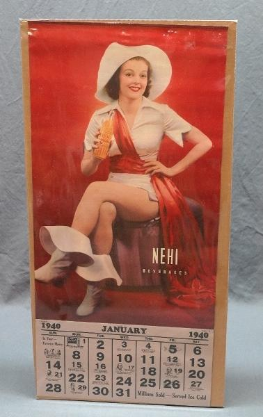 1939 Nehi Beverages Pin Up Calendar with Cowgirl!