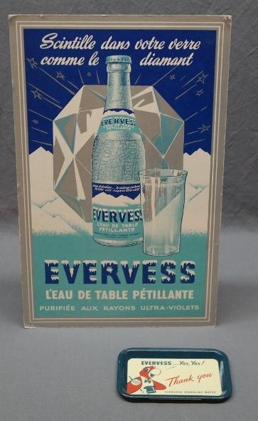1940s Evervess Cardboard Easel Back Advertising + Tip Tray