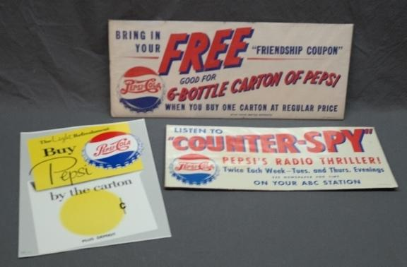 Lot of 3 Pepsi- Cola Paper Advertising Signs- Counter-Spy and More