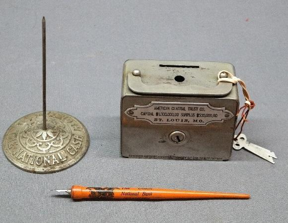 Metal Locking Advertising Bank with Key + National Cash Register Receipt Poker + Union Bank Quill Pen