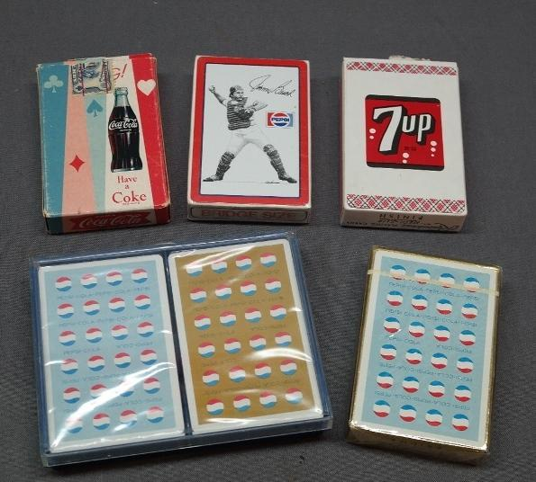 Lot of Various Pepsi, Coca Cola & 7 Up Playing Cards- 1950s- Baseball,