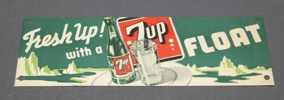 Fresh Up with 7 Up Float Paper Soda Fountain Advertising Sign