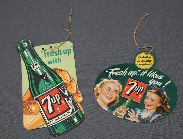 Lot of 2 Early 7 Up Fan Pulls- Fresh Up It Likes You Fresh Up Bottle in Hand