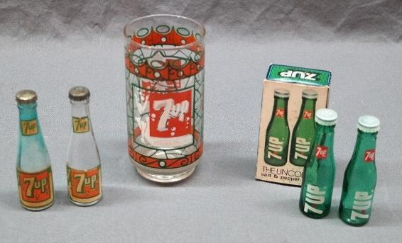 Lot of 7 Up Promotional Items- Salt and Pepper Shakers, Glass