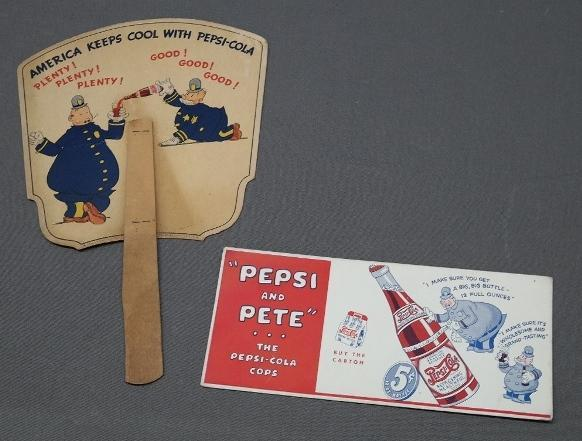 Pepsi and Pete Ink Blotter + Fan- 1940s Rare and Nice Condition