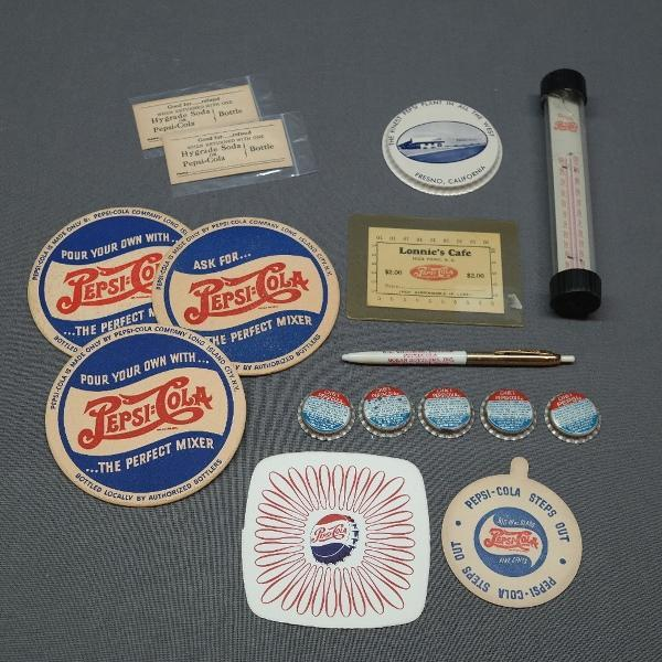 Lot of Miscellaneous Pepsi Promotional Advertising Items- Pens, Coasters, Bottle Caps +