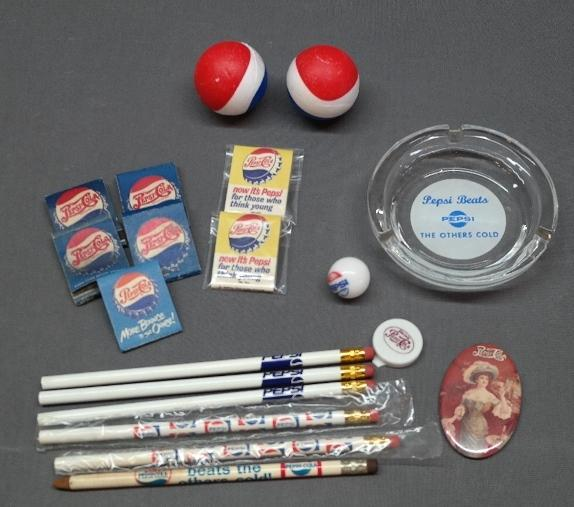 Lot of Miscellaneous Pepsi Promotional Advertising Items- Pencils, Matchbooks, Ashtray +