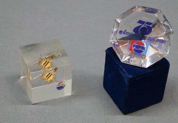 1960s and 1970s Pepsi Anniversary Lucite Desk items