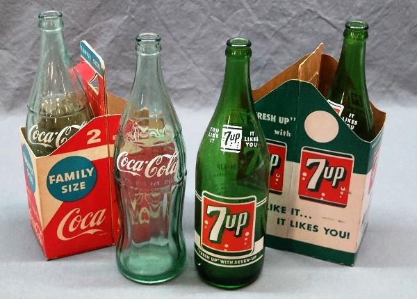 Coca Cola and 7 Up 2 Family size Bottle Carrier with Bottles
