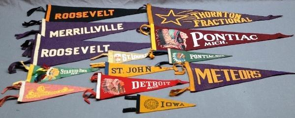 Lot of Early Souvenir Printed Felt Pennants-Some w/Native American Graphics