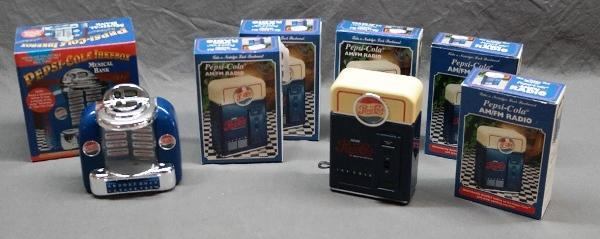 Lot of 5 Pepsi-Cola AM/FM Radios + Musical Bank
