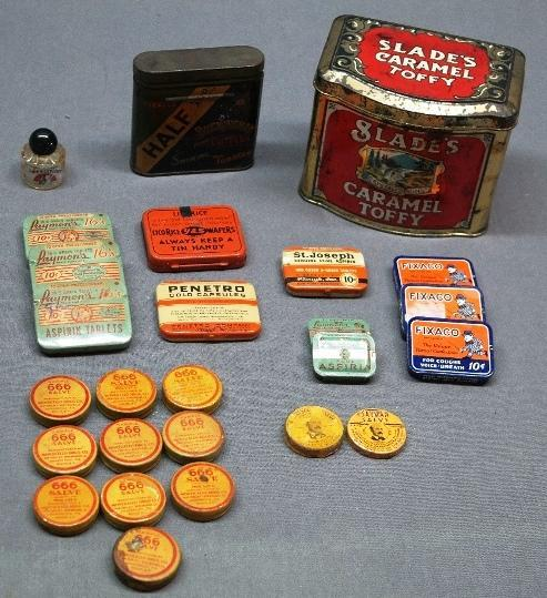 Lot of Small Advertising Tins- Caramel Toffy, Tobacco Tin