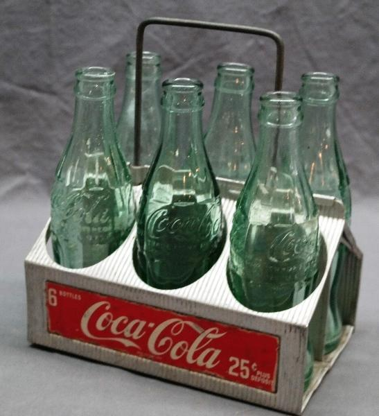 Coca Cola 6 Bottle Carrier 25Cent Label - with 6 Bottles