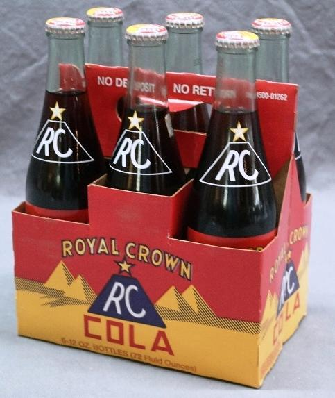 Royal Crown Cola 6 Bottle Cardboard Carrier with Bottles