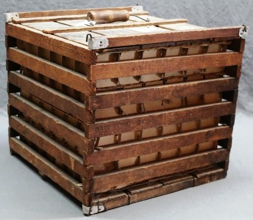Early Humpty Dumpty Wooden Egg Shipping Crate made by Owosso Mfg Co- With Inserts and Bale Handle