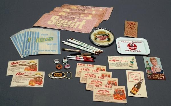 Large Lot of Miscellaneous Soda and Advertising- Tip tray, Pin Up Pen, Bottle Caps and More