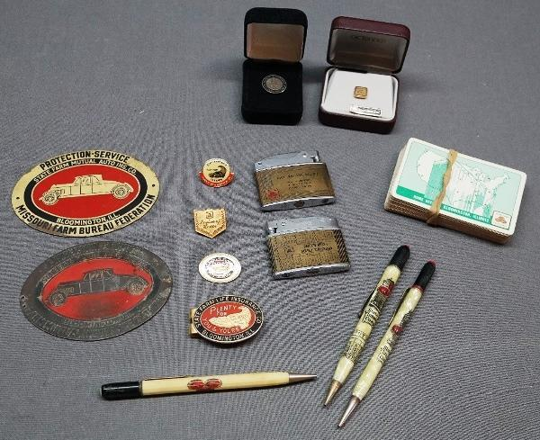 Lot of Early State Farm Mutual Insurance Promotional Items- Gold Pin, Car Badges and More