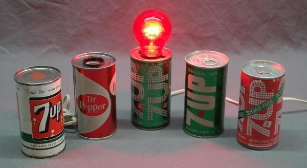 Lot of 7 Up Soda Cans and Novelty Cans-  Dr Pepper and 7 Up Lamp, Music Box