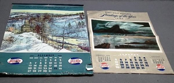 Lot of 2 1940s Pepsi Cola Advertising Calendars