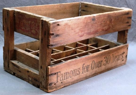 Pepsi- Cola Famous for 30 Years Wooden Open Side 24 Bottle Crate