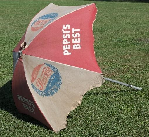 Rare Pespi's Best Diner/Restaurant Canvas Umbrella with post.