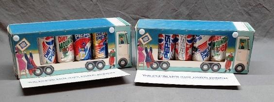2 Sets of Pepsi Holiday Party Bunch Cans in Party Bus Display Box