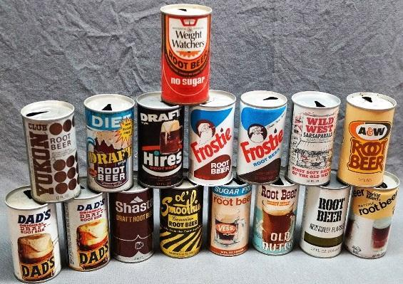 Lot of 16 Vintage Root Bear Cans from Various Makers-
