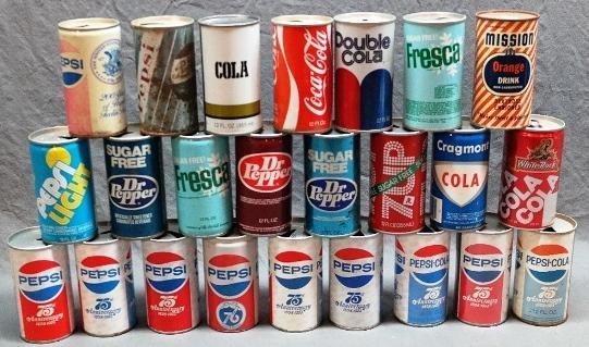 Lot of 24 Vintage Cola/Soda Cans- Pepsi, Coke, Double Cola, and More