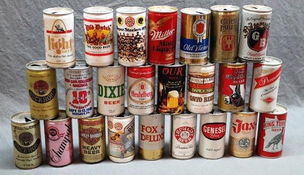 Lot of 24 Vintage Beer Cans- Iron City (Steelers & Pirates), Old Missouri, Johnny Dollar's and More