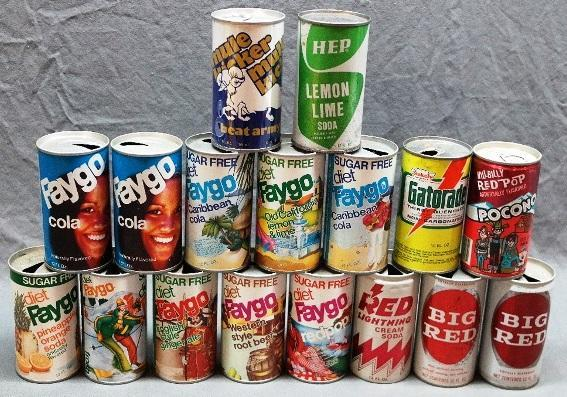 Lot of 17 Vintage Faygo Soda Cans and Others