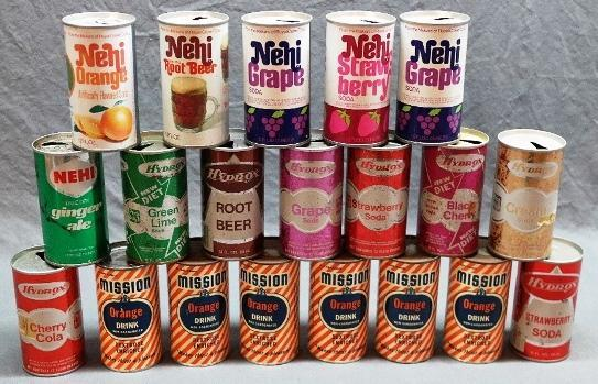 Lot of 14 Vintage Nehi Soda Cans and 6 Mission Orange Flat Top Cans