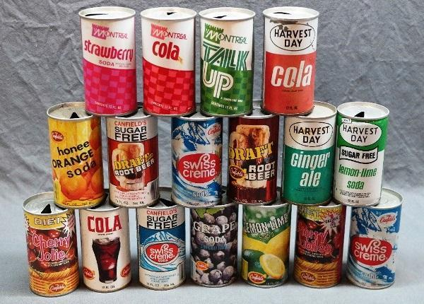 Lot of 18 Vintage Canfields, Harvest Day, Montreal Soda Cans and Others