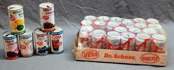 Lot of Vintage Vess Cola Banks and Straight Side Soda Cans