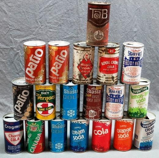 Lot of Vintage Soda and Cola Cans- Royal Crown Flat Top