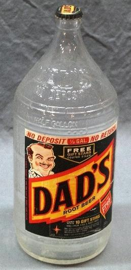 Rare Dad's 1/2 Gallon Soda Bottle with Paper Label and Original Cap