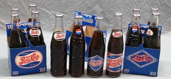 3 Pepsi 100th Anniversary 4 Pack Soda Bottles and Carriers