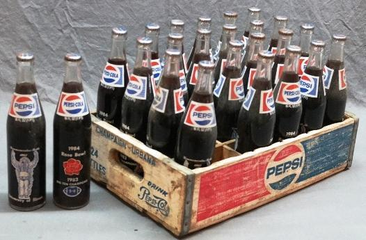 Pepsi Wood Tray with 24 1984 Rose Bowl Pepsi Bottles