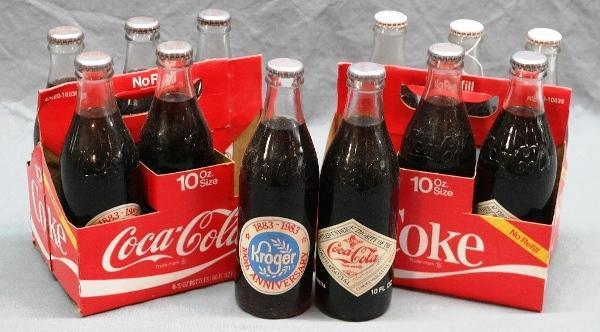100th Anniversary Kroger Coca Cola 6 Packs with Bottles-