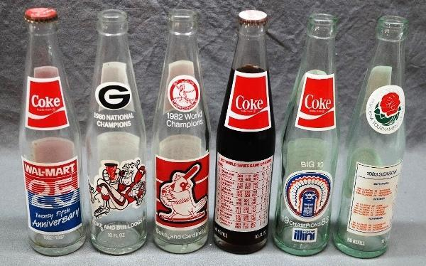 Lot of St Louis Cardinals 1983 World Series and 1983 Big 10 Bottles- Coca Cola