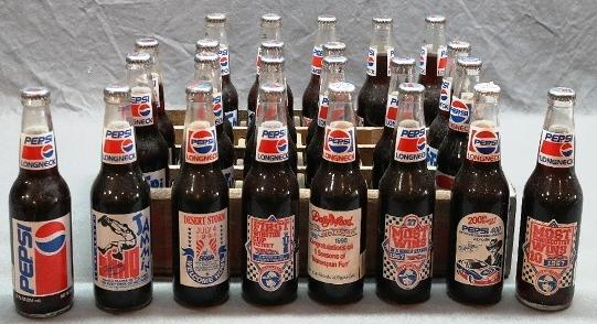 Towne Club Crate with 24 Pepsi Long Neck 1990s bottles