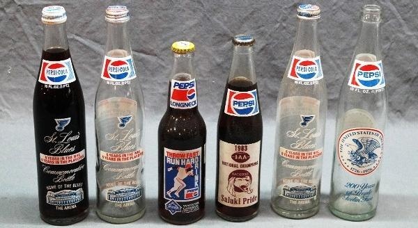 Lot of 6 Commemorative Pepsi Bottles