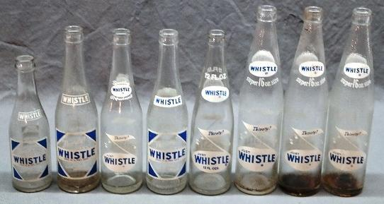 Lot of 8 Various Printed Whistle Soda Bottles