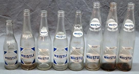 Lot of 8 Various Printed Whistle Soda Bottles